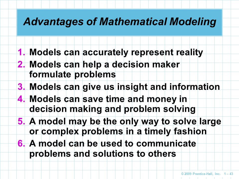 Advantages of Mathematical Modeling