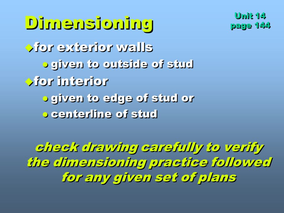 Dimensioning for exterior walls for interior