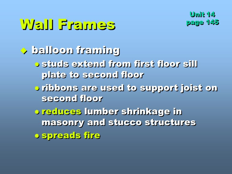 Wall Frames balloon framing