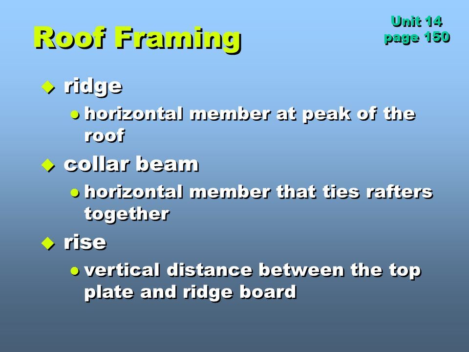 Roof Framing ridge collar beam rise