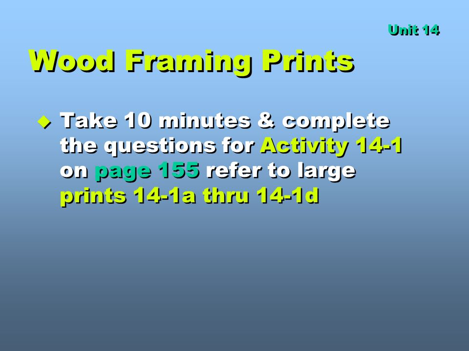 Unit 14 Wood Framing Prints.