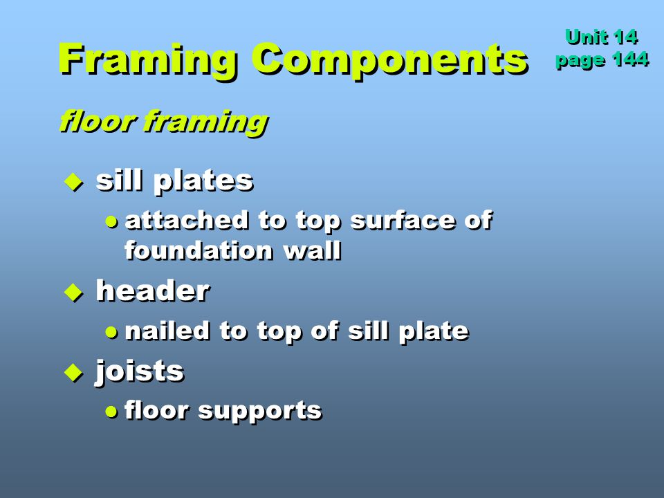 Framing Components floor framing sill plates header joists