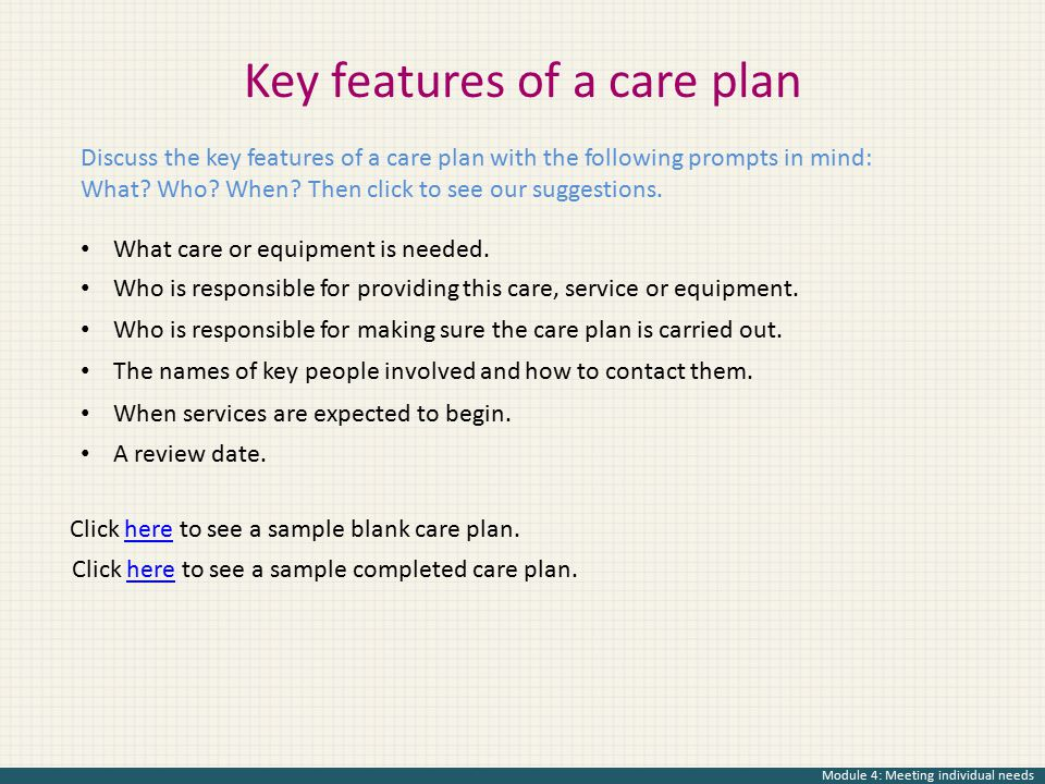 Key features of a care plan