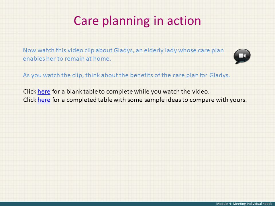 care planning for individual needs essay Support people with social care needs the authors take a critical but constructive  look at the claims for person-centred planning in the context of current policy.