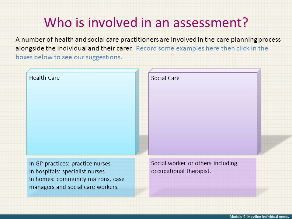 Who is involved in an assessment