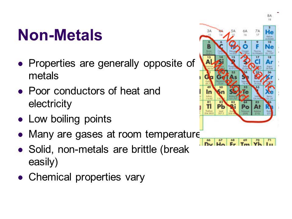 Non-Metals Properties are generally opposite of metals