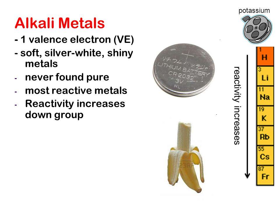 Alkali Metals - 1 valence electron (VE)