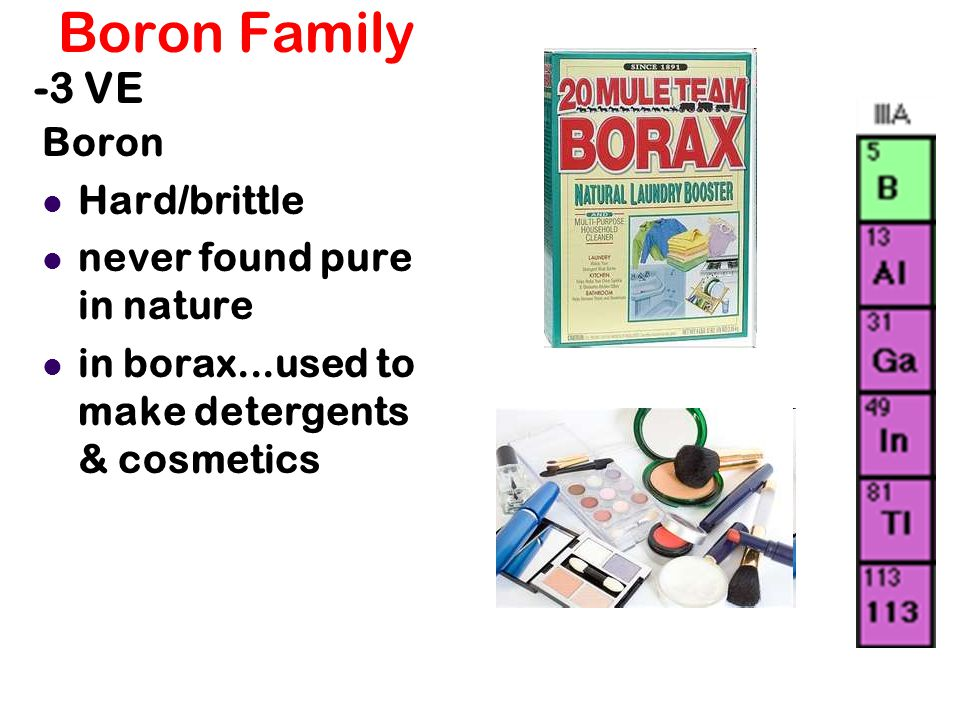 Boron Family -3 VE Boron Hard/brittle never found pure in nature