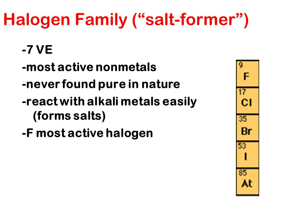 Halogen Family ( salt-former )