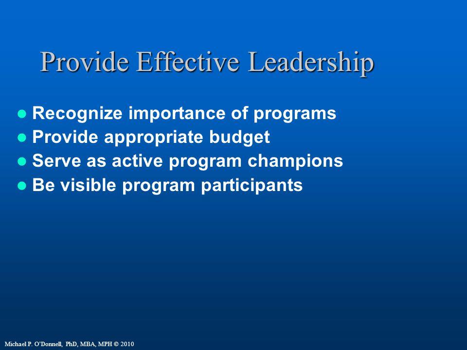 Provide Effective Leadership