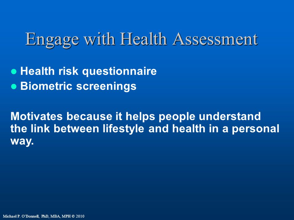 Engage with Health Assessment