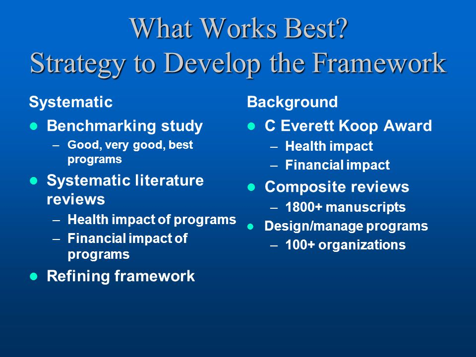 What Works Best Strategy to Develop the Framework