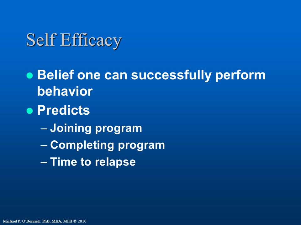 Self Efficacy Belief one can successfully perform behavior Predicts