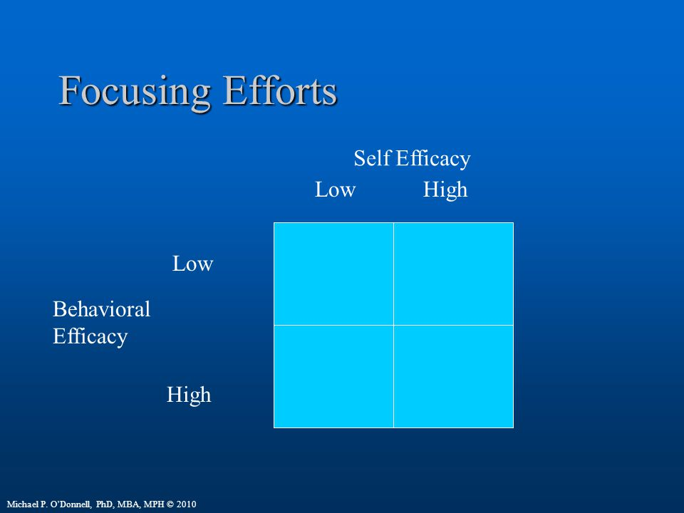 Focusing Efforts Self Efficacy Low High Low Behavioral Efficacy High