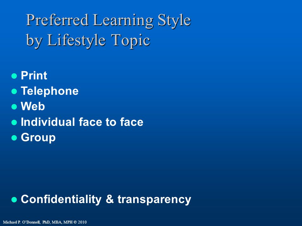 Preferred Learning Style by Lifestyle Topic