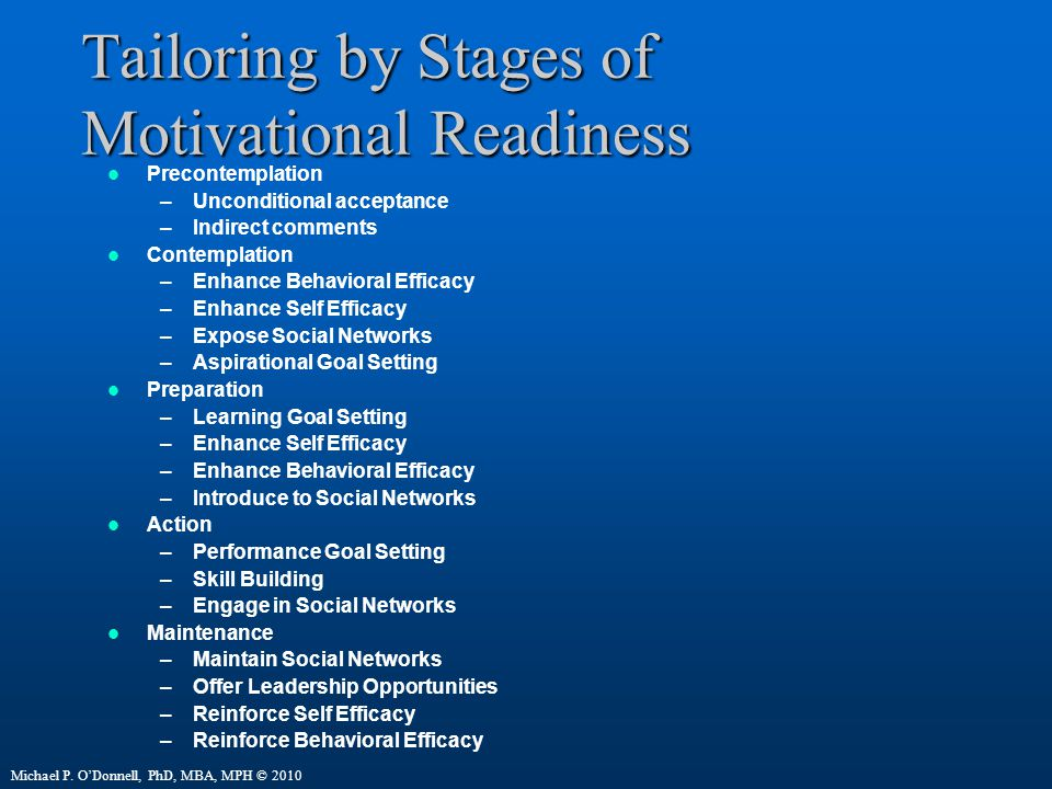 Tailoring by Stages of Motivational Readiness