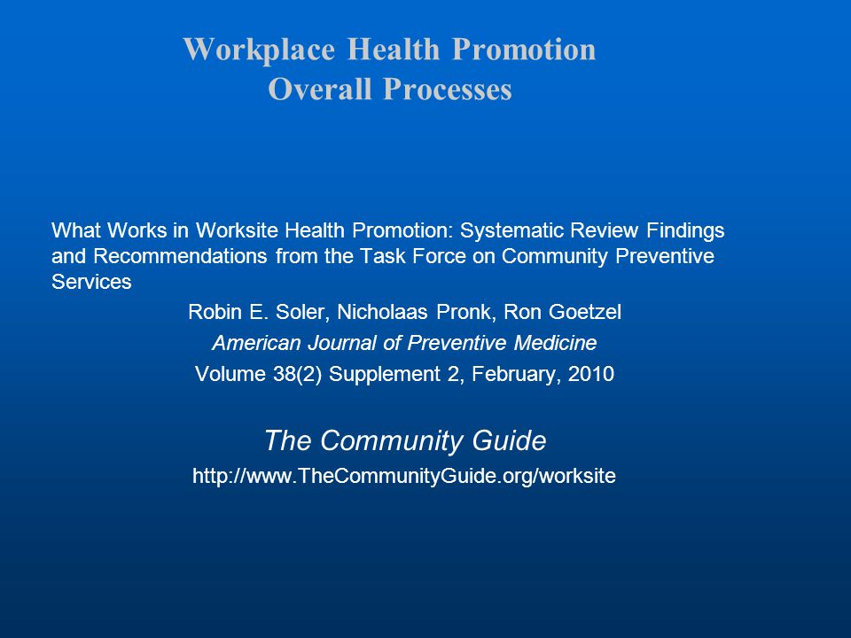 Workplace Health Promotion Overall Processes