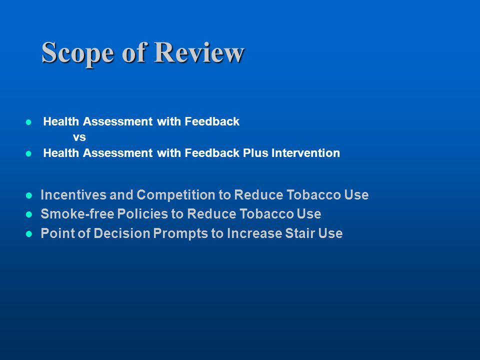 Scope of Review Incentives and Competition to Reduce Tobacco Use
