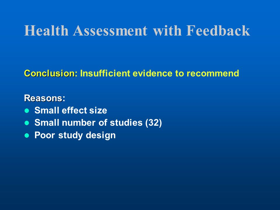 Health Assessment with Feedback