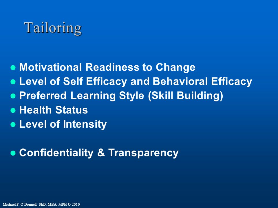 Tailoring Motivational Readiness to Change