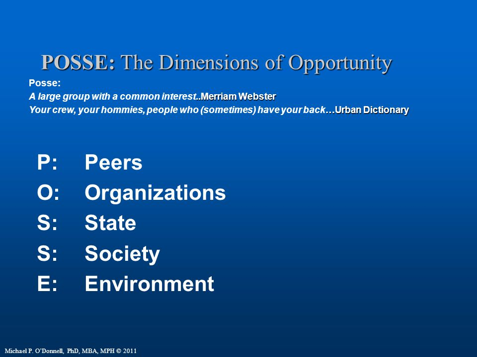 POSSE: The Dimensions of Opportunity