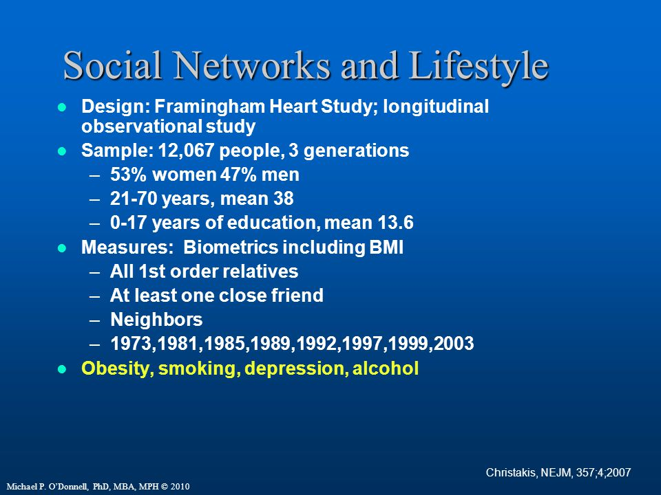 Social Networks and Lifestyle