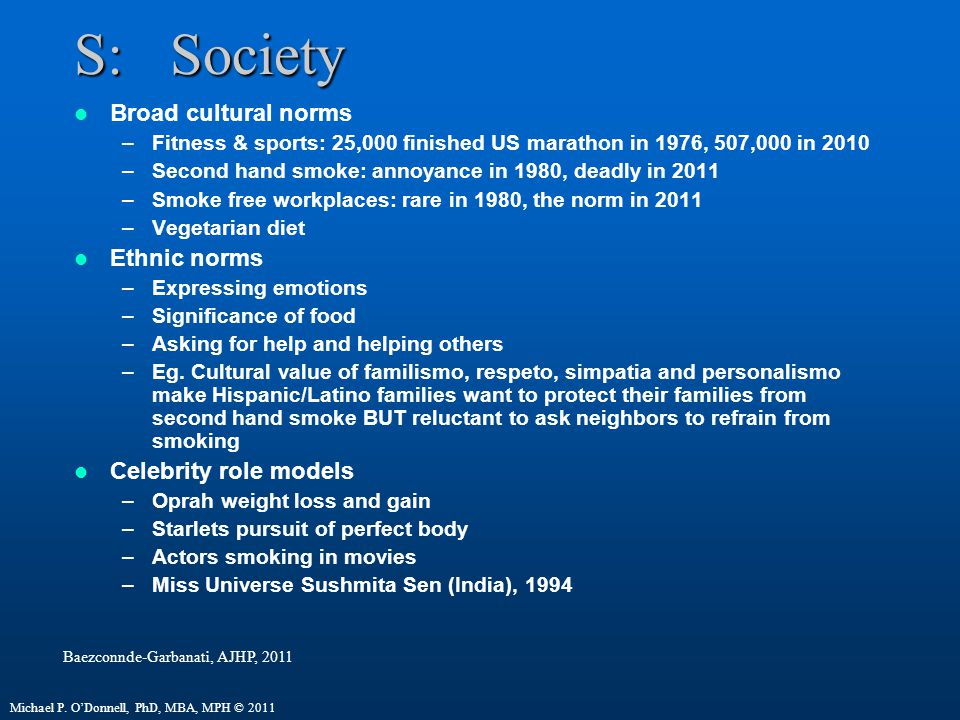 S: Society Broad cultural norms Ethnic norms Celebrity role models