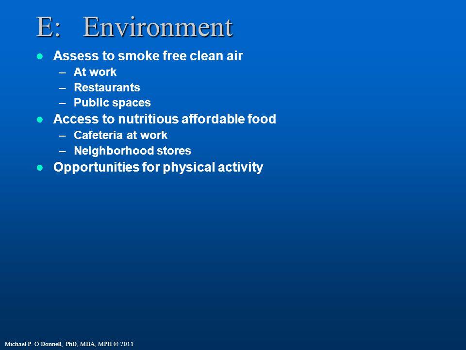 E: Environment Assess to smoke free clean air