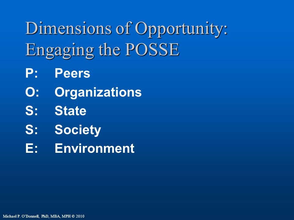 Dimensions of Opportunity: Engaging the POSSE