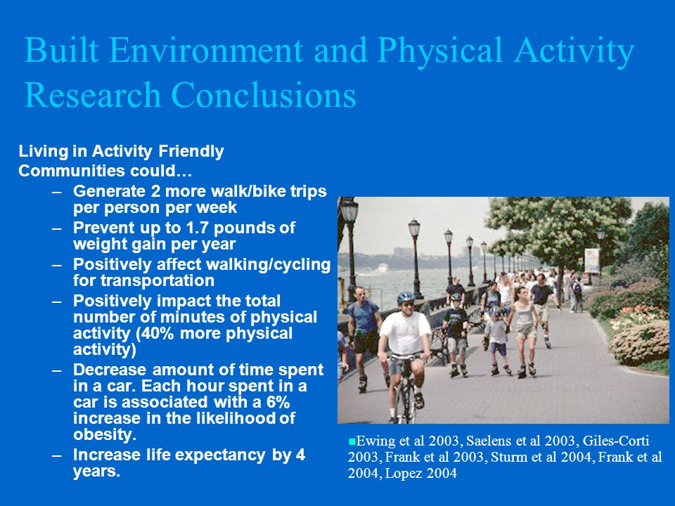 Built Environment and Physical Activity Research Conclusions