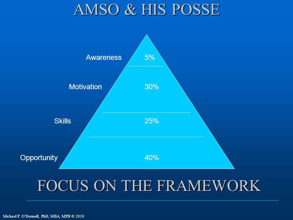 AMSO & HIS POSSE FOCUS ON THE FRAMEWORK Awareness 5% Motivation 30%