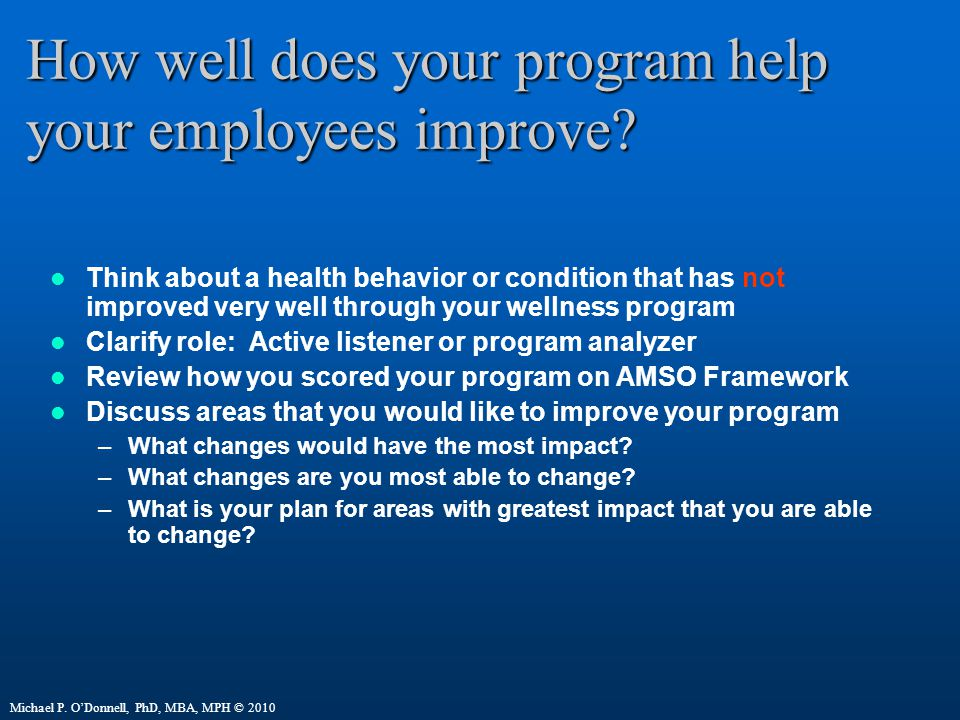How well does your program help your employees improve