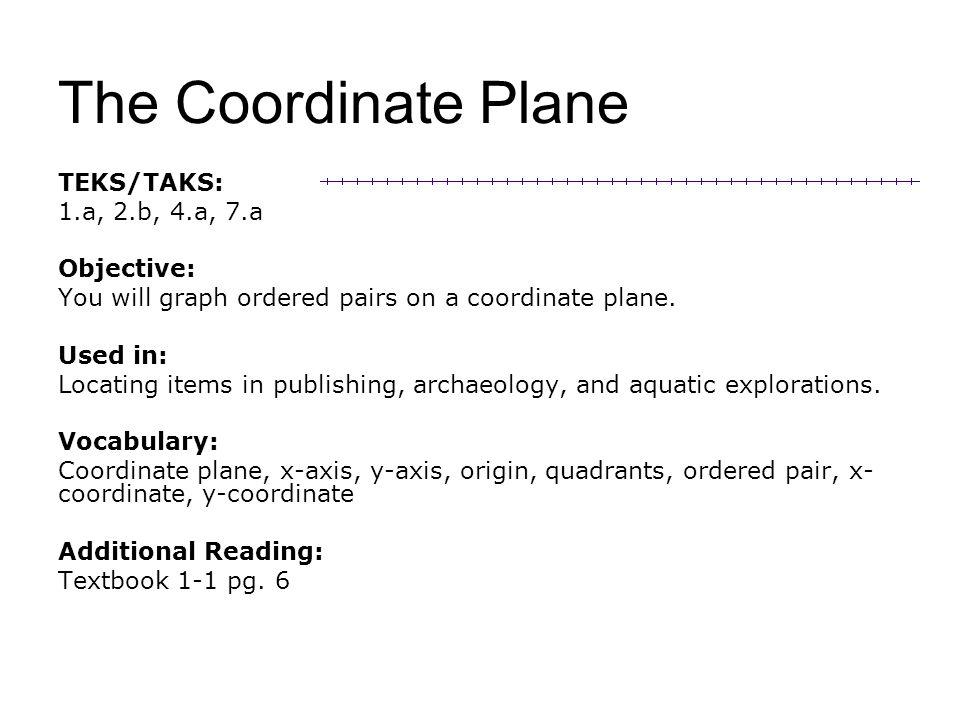The Coordinate Plane TEKS/TAKS: 1.a, 2.b, 4.a, 7.a Objective: