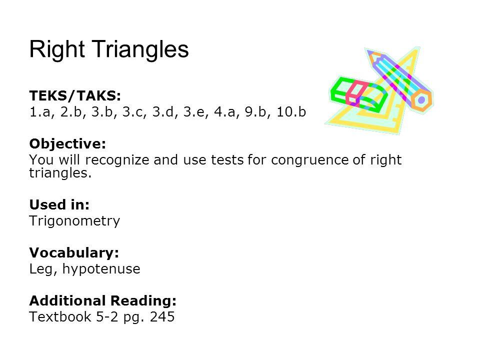 Right Triangles TEKS/TAKS: