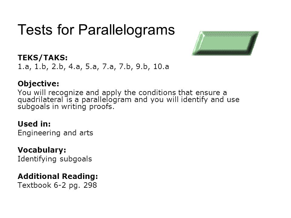 Tests for Parallelograms