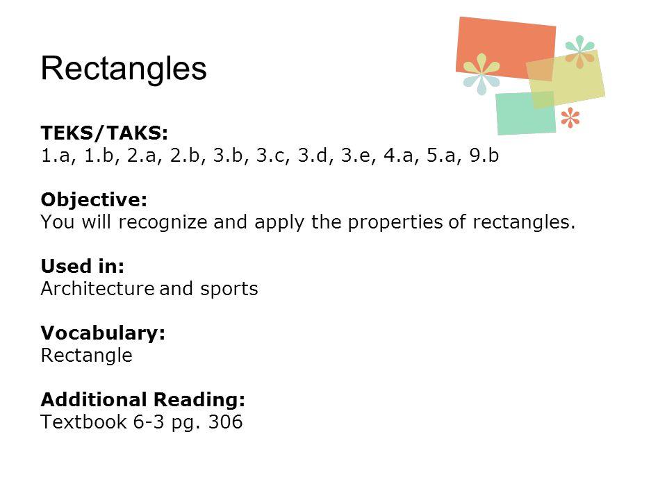 Rectangles TEKS/TAKS: