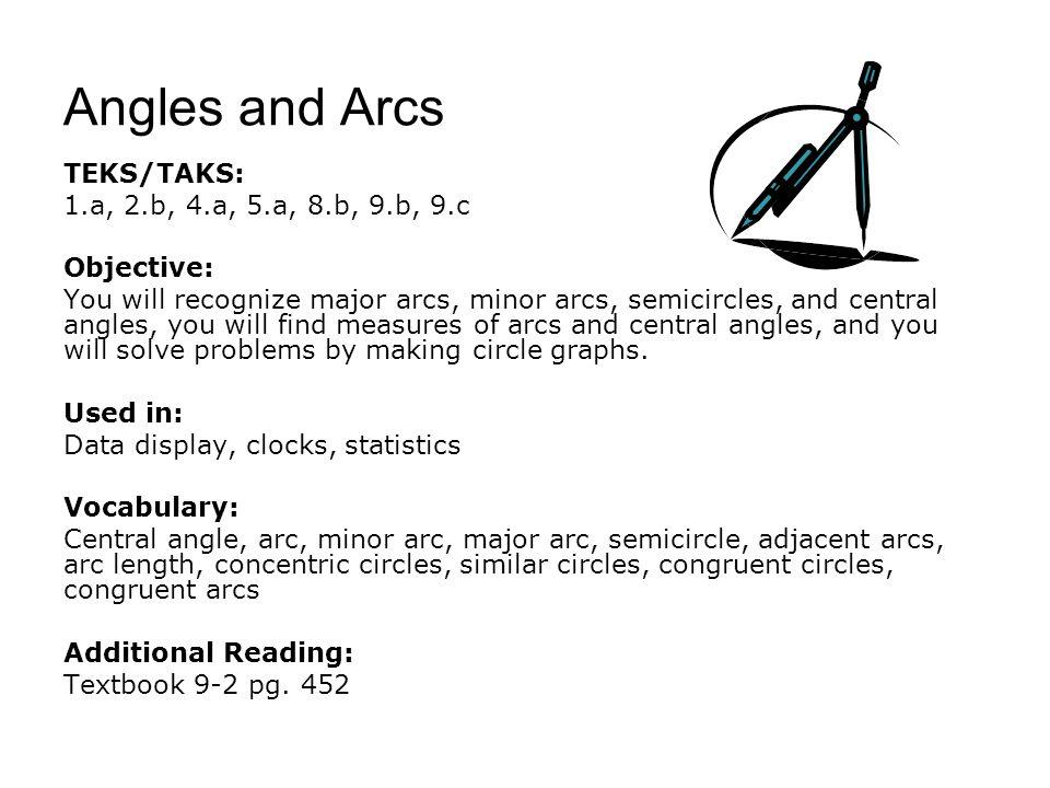 Angles and Arcs TEKS/TAKS: 1.a, 2.b, 4.a, 5.a, 8.b, 9.b, 9.c