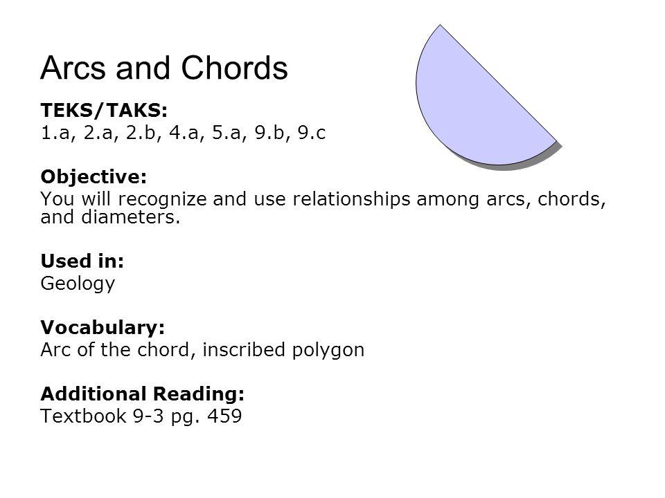 Arcs and Chords TEKS/TAKS: 1.a, 2.a, 2.b, 4.a, 5.a, 9.b, 9.c