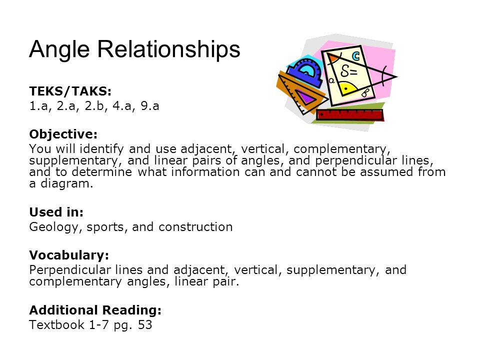 Angle Relationships TEKS/TAKS: 1.a, 2.a, 2.b, 4.a, 9.a Objective: