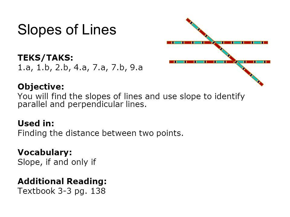 Slopes of Lines TEKS/TAKS: 1.a, 1.b, 2.b, 4.a, 7.a, 7.b, 9.a