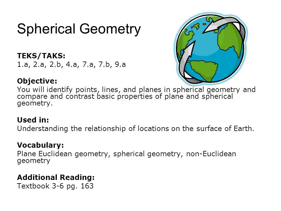 Spherical Geometry TEKS/TAKS: 1.a, 2.a, 2.b, 4.a, 7.a, 7.b, 9.a