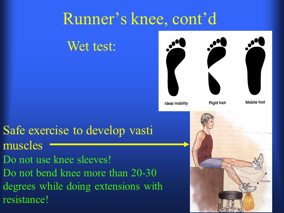 Runner's knee, cont'd Wet test: Safe exercise to develop vasti muscles