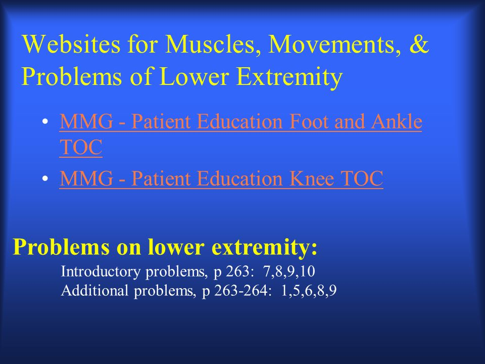 Websites for Muscles, Movements, & Problems of Lower Extremity