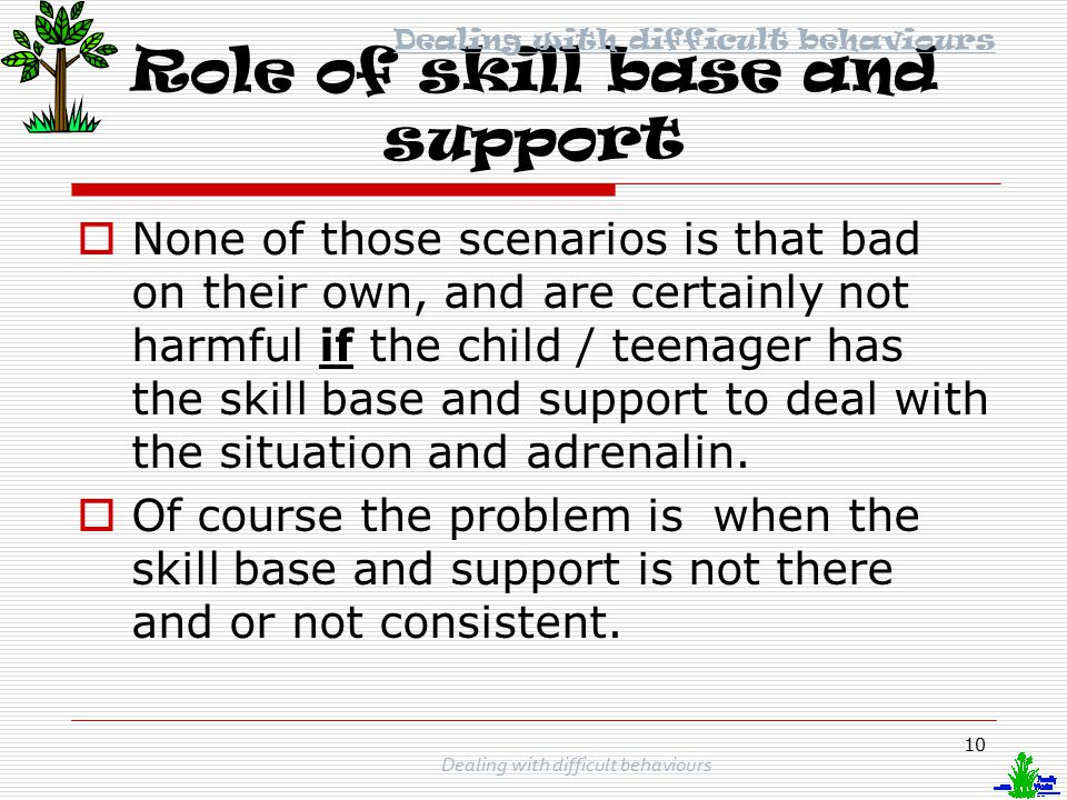 Role of skill base and support