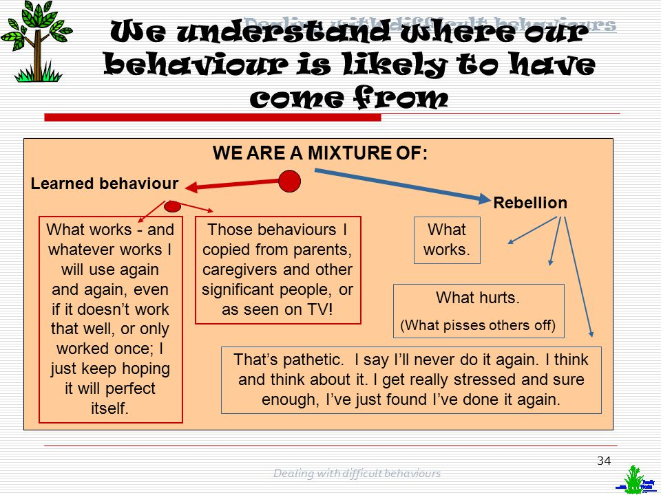 We understand where our behaviour is likely to have come from
