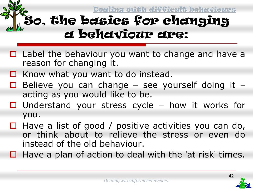 So, the basics for changing a behaviour are: