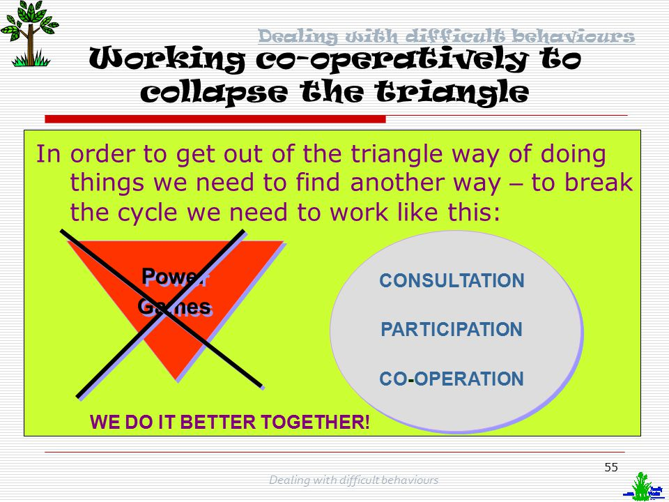 Working co-operatively to collapse the triangle
