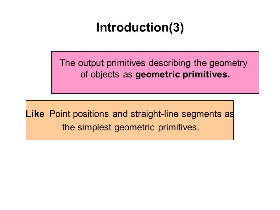 Introduction(3) The output primitives describing the geometry