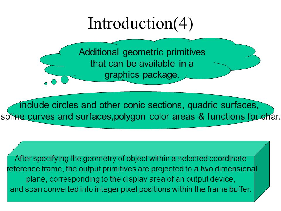 Introduction(4) Additional geometric primitives that can be available in a graphics package.