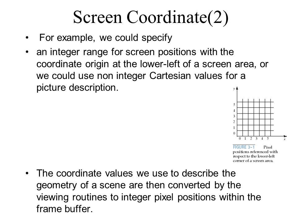 Screen Coordinate(2) For example, we could specify